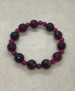 Faceted Purple Agate & Ruby Crystal Beaded Bracelet