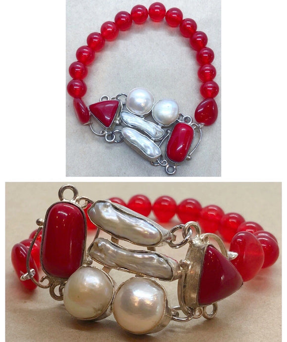 Pearls & Coral Set in 925 with Red Coral & White Jade Crystal Chips Beaded Bracelet