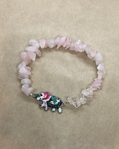 Rose Quartz Crystal Chips Beaded Bracelet with Elephant Centrepiece
