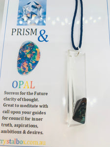 Opal on Crystal Prism Necklace 10