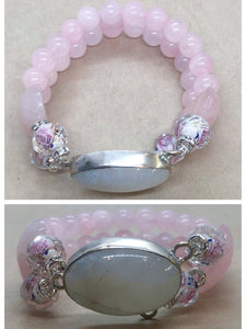 Moonstone set in 925 with Rose Quartz Crystal Double Strand Beaded Bracelet