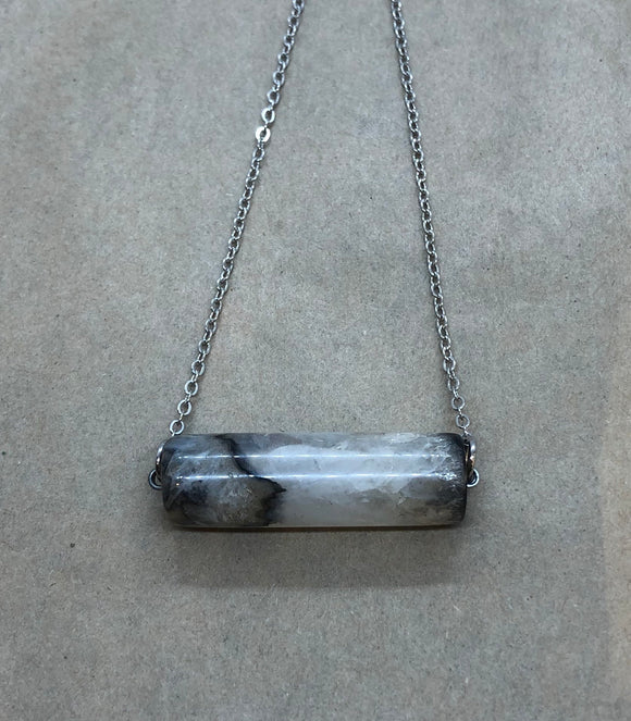 White Agate Crystal on Chain Necklace