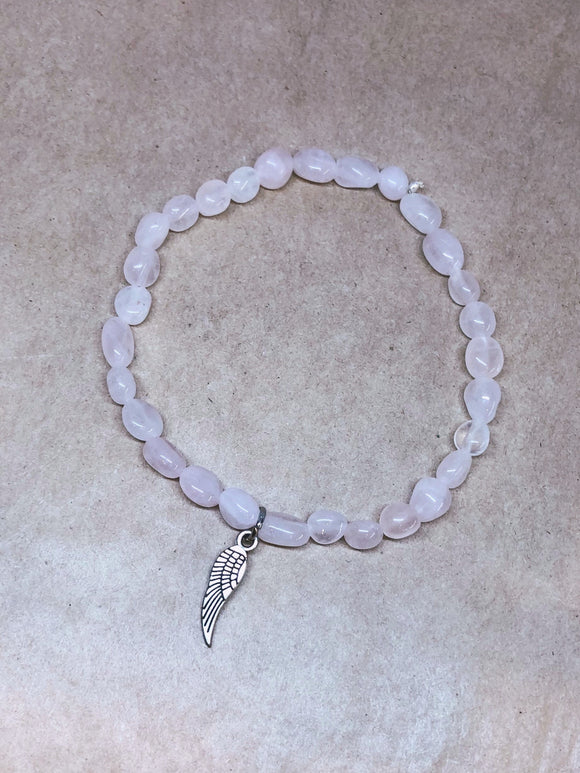 Rose Quartz Crystal Beaded Bracelet with Angel Wing Charm