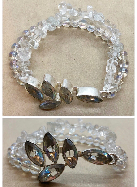 Clear Quartz set in 925 Silver with Clear Quartz Double Stranded Beaded Bracelet