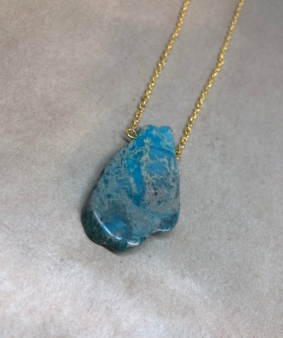 Blue Imperial Jasper Crystal Necklace