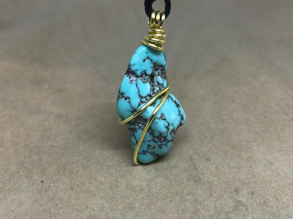 Raw Natural Turquoise Wired Crystal Necklace