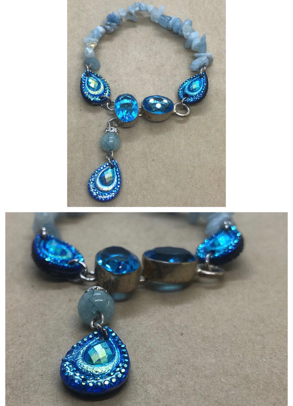 Blue Topaz set in 925 Silver With Aquamarine Crystal Beaded Bracelet