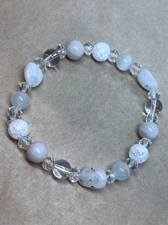 Moonstone, Cracked Crystal, White Agate, Cat's Eye & Clear Quartz Crystal Beaded Bracelet