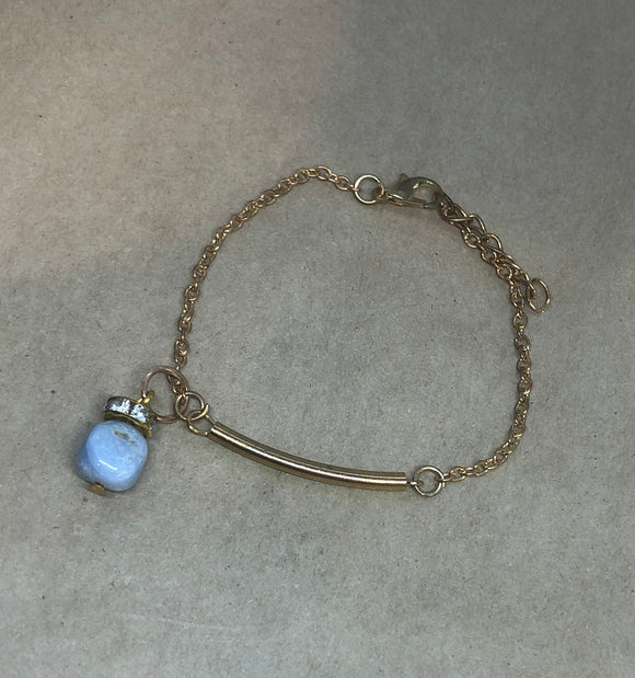 Blue-Lace Agate Crystal on Chain Bracelet
