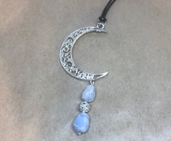 Blue-Lace Agate Crystal Necklace
