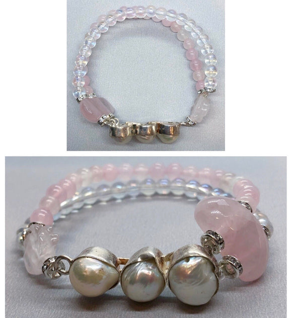 Pearl set in 925 Silver With Rose Quartz and Rainbow Bead Double Strand Bracelet