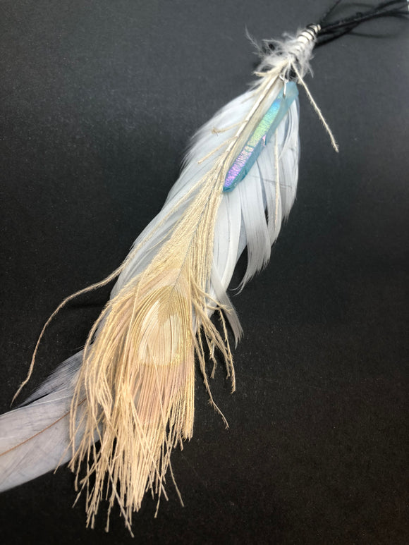 Sun Catcher with Peacock Feather and Aqua Aura Point