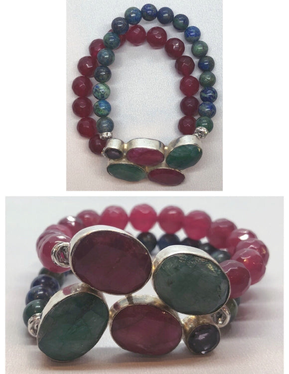 Ruby & Emerald set in 925 Silver with Ruby & Lapis Chrysocolla Beaded Bracelet