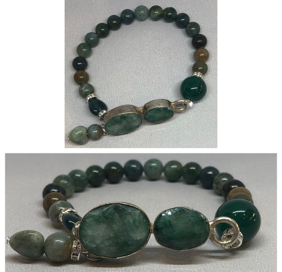 Emerald set in 925 Silver with Green Agate Beaded Bracelet