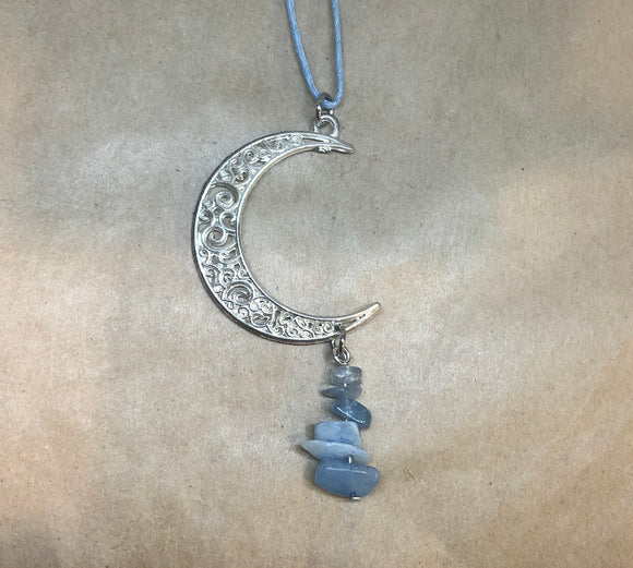 Celestite Crystal Chips on Moon Necklace