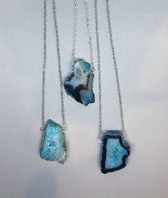 Blue Agate Slice on Chain Necklace