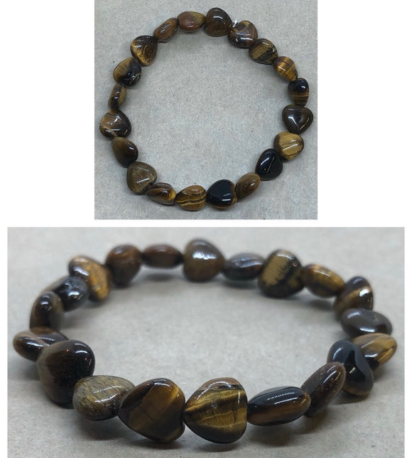 Tiger's Eye Crystal Hearts Beaded Bracelet
