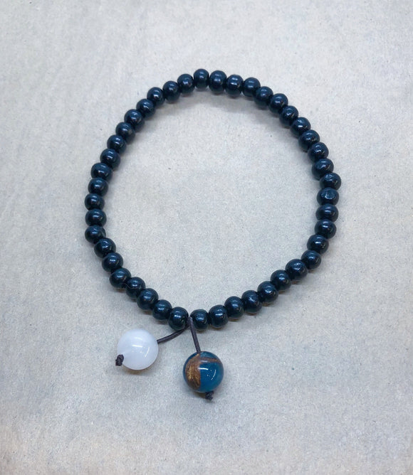 Earth & Moon (Jasper & Moonstone) Soulmates Black Wood Beaded Bracelet