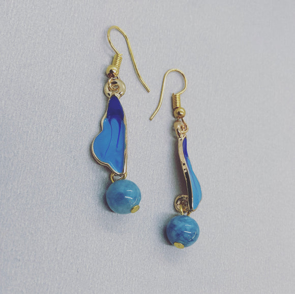 Blue Butterfly Earrings with Aquamarine