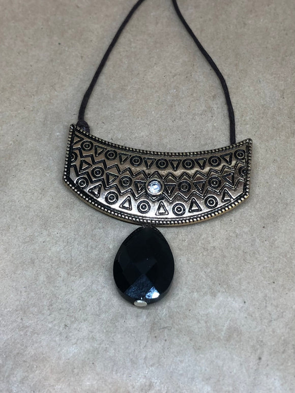 Black Obsidian Crystal Drop Necklace