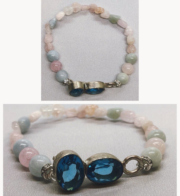 Blue Topaz set in 925 Silver with Morganite Crystal Beaded Bracelet