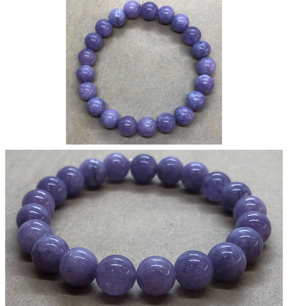 Lilac Angelite Crystal Beaded Bracelet
