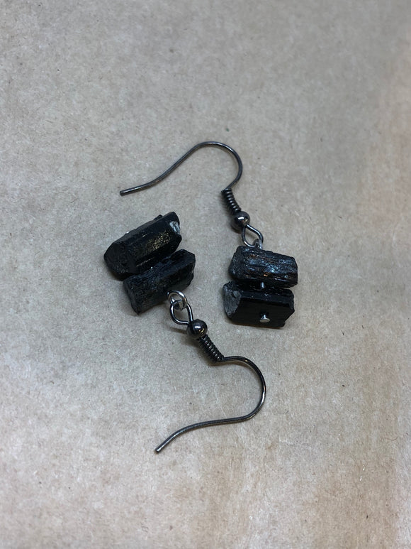 Raw Natural Black Tourmaline Earrings