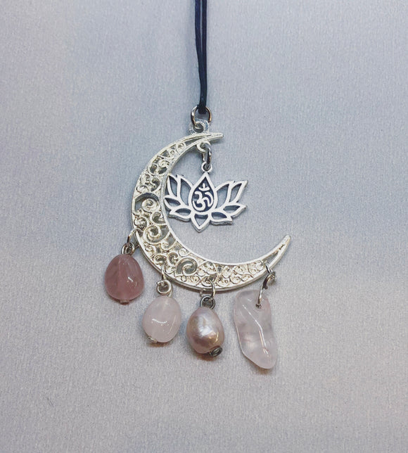 Moon Crescent Necklace with Rose Quartz Crystal & Pearl