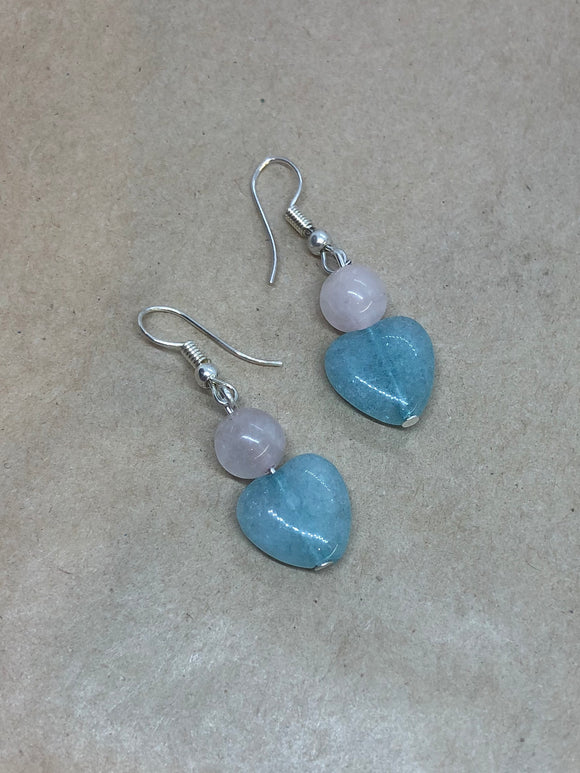 Rose Quartz & Aquamarine Crystal Heart Earrings