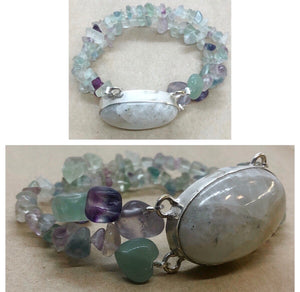 Moonstone set in 925 Silver with Fluorite & Aventurine Crystal Beaded Double Strand Bracelet