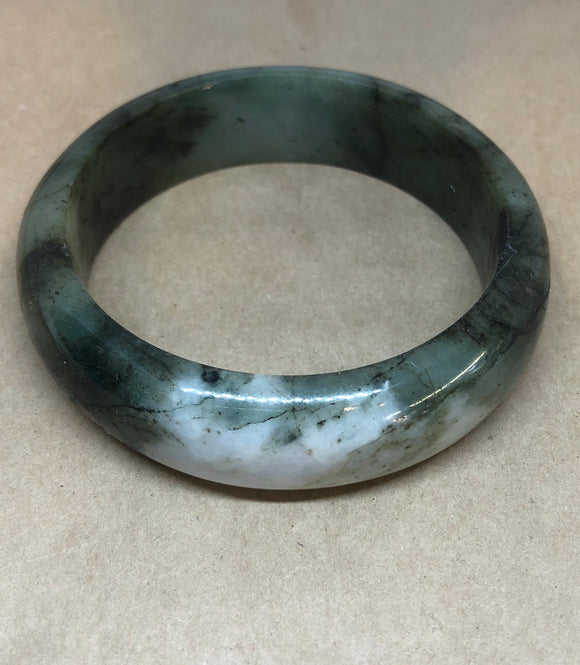 Unique One-Off Green Jade Crystal Bangle with White Jade Inclusion