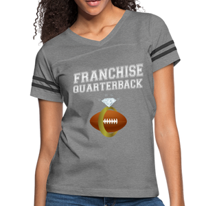 Franchise Quarterback customize jersey gift for engaged or married wife - heather gray/charcoal