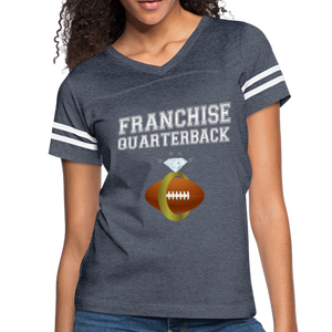 Franchise Quarterback customize jersey gift for engaged or married wife - vintage navy/white