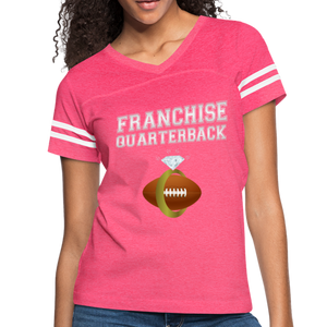 Franchise Quarterback customize jersey gift for engaged or married wife - vintage pink/white
