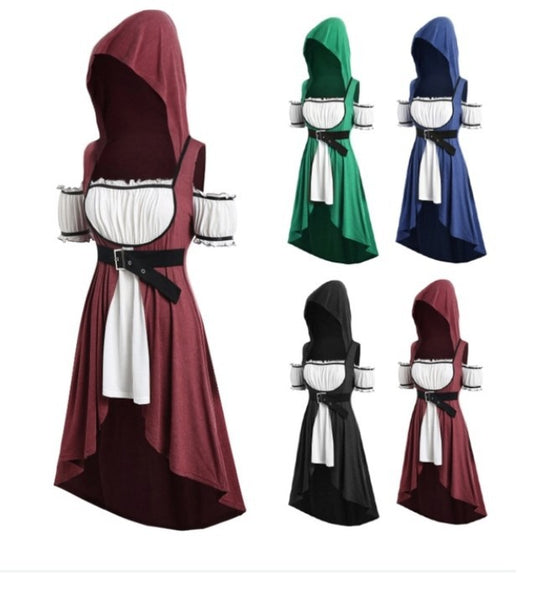 Womens Renaissance Medieval Maxi Dress Long Sleeve Pleated Party Costume Cosplay