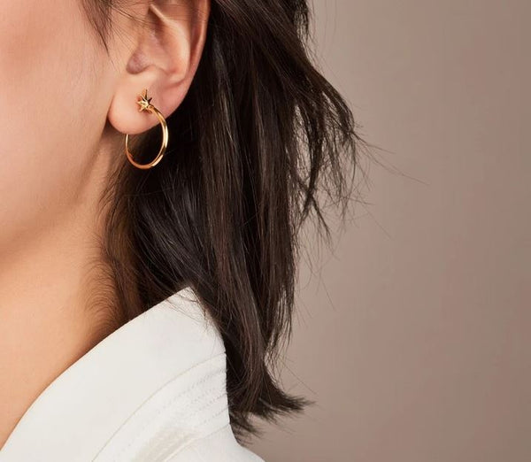 Rachel Jackson London Medium Shooting Star Hoop Earrings - Gold £70.00