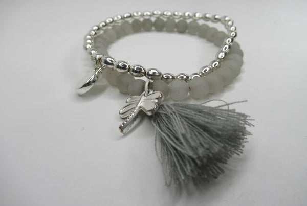 Envy Jewellery Double Silver and Stone Dragonfly Bracelet £11.95