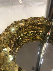 Lila Boutique Sequinned Padded Headband in Gold