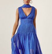 Access Fashion Charlese Long Dress in Blue