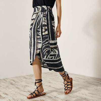 Access Fashion Erica Wrap Skirt in Ethnic Print
