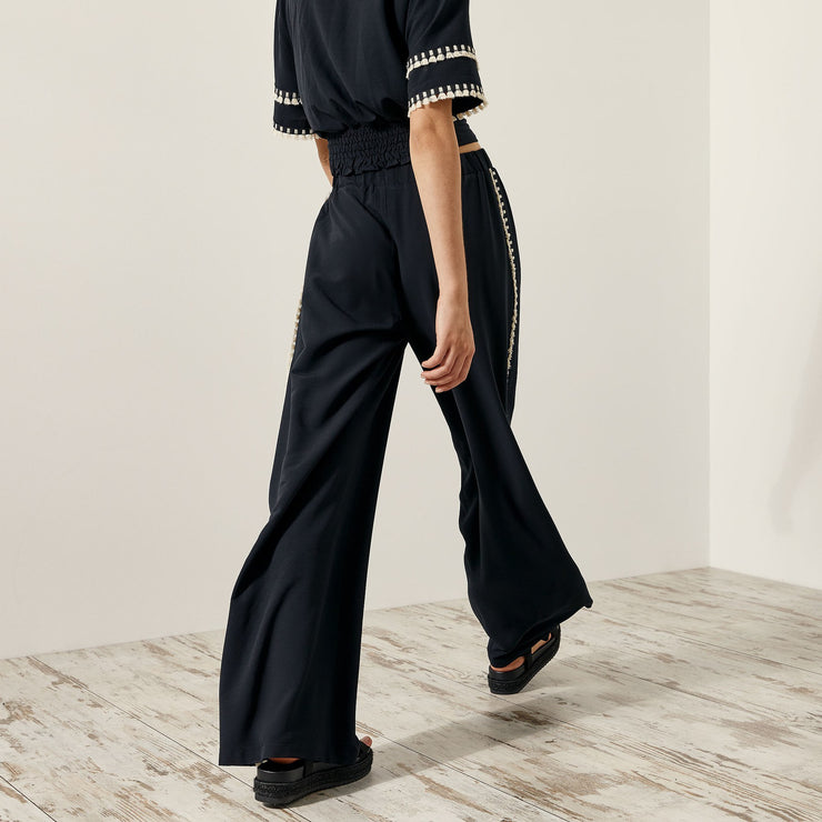 Access Fashion Rosie Wide Leg Pants with Pom Poms