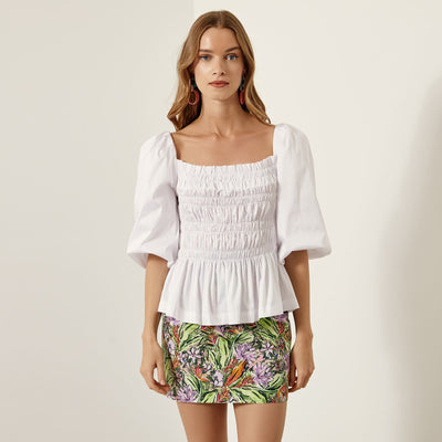 Access Fashion Saffron Puff Sleeved Top in White