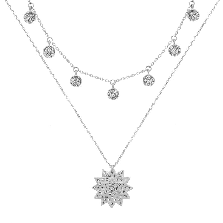 Bibi Bijoux Kate Thornton Silver Layered Star and Boho Coin Necklace