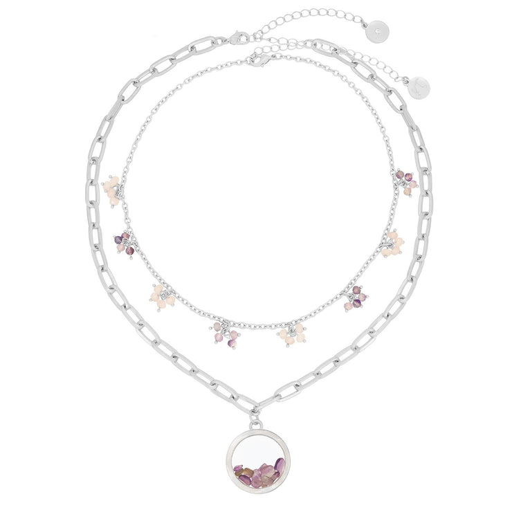 Bibi Bijoux Kate Thornton Dancing Stones Silver Amethyst Locket Necklace with Mother of Pearl