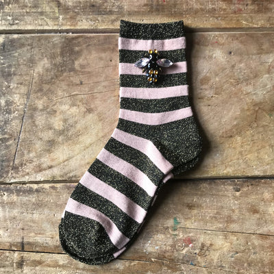 Sixton Glitter Stripe Socks in Powder Pink with Bee Pin