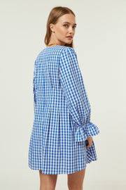 Jovonna Vela Dress Blue Gingham