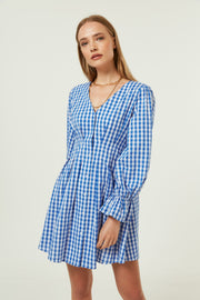 Jovonna Vela Dress in Blue Gingham