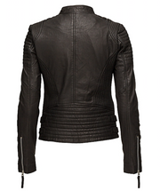 MDK City Biker Leather Jacket in Black