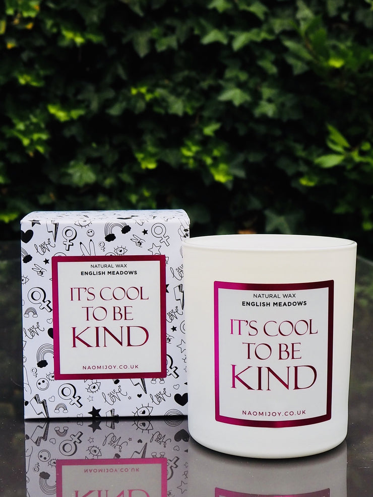 Naomi Joy Living It's Cool To Be Kind Natural Wax Candle in English Meadows