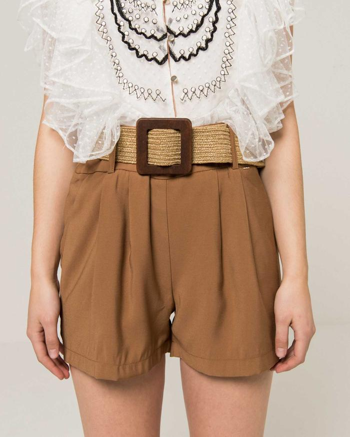 Silvian Heach Yandon Belted Shorts in Cathay Spice